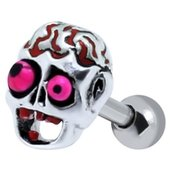 Brainy Skull Ear Piercing Stud