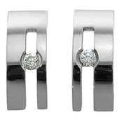 CZ Stainless Steel Stud Earrings