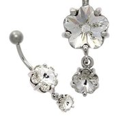 Double Flower Stone Belly Ring - Crystal Clear