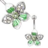 Flower Belly Ring (Green Tropical)