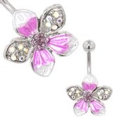 Flower Belly Ring (Purple Tropical)