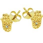 Gold Plated Crystal AB Jeweled Hamsa Hand Ear Stud