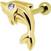 Gold Plated Crystal Jewelled Dolphin Tragus Bar