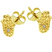 Gold Plated Crystal Jewelled Hamsa Hand Ear Stud