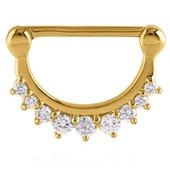 Gold Plated Crystal Jeweled Nipple Clicker Ring