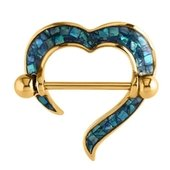 Gold Plated Mother Of Pearl Mosaic Nipple Shield - Blue Zircon