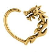 Gold Plated Open Heart Continuous Ring - Left Dragon