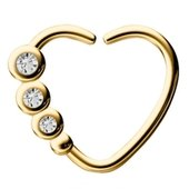 Gold Plated Open Heart Seamless Ring - Crystal