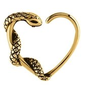 Gold Plated Open Heart Seamless Ring - Snake