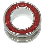 Halo Glitter Flesh Tunnel - Red