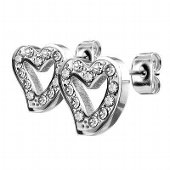 Hollow Heart Surgical Steel Stud Earrings