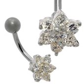 Jeweled Flower Belly Ring - Clear