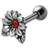 Jeweled Silver and Steel Tragus Stud - Red Flower