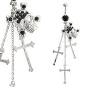 Jeweled Belly Button Dangle (Black Skull & Cross)