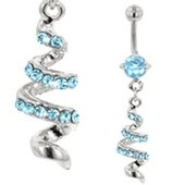 Jeweled Belly Button Dangle (Blue Twist)