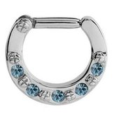 Jewelled Hinged Septum Clicker Ring - Light Blue