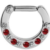 Jewelled Hinged Septum Clicker Ring - Red