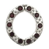 Non Piercing Sterling Silver Nipple Clamp - Red Jeweled