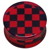 PMMA Double Flared Silhouette Plug - Red and Black Check