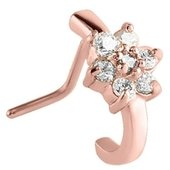 Rose Gold 90 Degree Jeweled Nose Stud - Crystal Flower