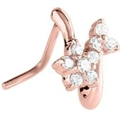 Rose Gold 90 Degree Jeweled Nose Stud - Crystal Flowers