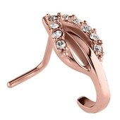 Rose Gold 90 Degree Jeweled Nose Stud - Crystal