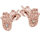 Rose Gold Crystal AB Jeweled Hamsa Hand Ear Stud