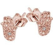 Rose Gold Crystal Jeweled Hamsa Hand Ear Stud