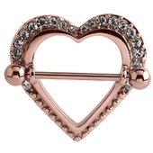 Rose Gold Crystal Jeweled Heart Nipple Shield