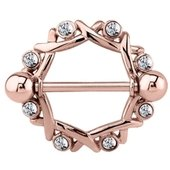 Rose Gold Crystal Jeweled Nipple Shield