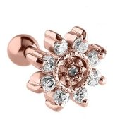 Rose Gold Jeweled Tragus Barbell - Crystal Flower