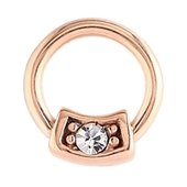 Rose Gold Jeweled Captive Bead Ring - Crystal