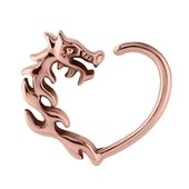 Rose Gold Open Heart Continuous Ring - Right Dragon