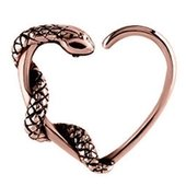 Rose Gold Open Heart Continuous Ring - Right Snake