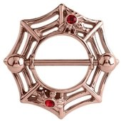 Rose Gold Red Jeweled Webbed Nipple Shield