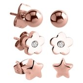 Rose Gold Surgical Steel Ear Studs Set