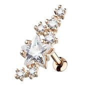 Rose Gold Surgical Steel Star Lined Cartliage Stud - Clear