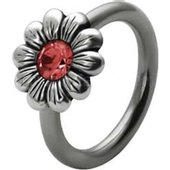 Silver and Steel Daisy Captive Bead Ring - Red