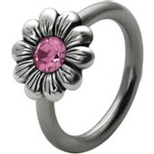 Silver and Steel Daisy Captive Bead Ring - Pink