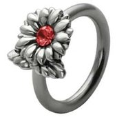 Silver and Steel Flower Captive Bead Ring - Red