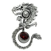 Silver and Steel  Orbital with Free Belly Ring - Dragon