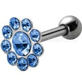 Silver and Steel Tragus Stud - Jeweled Blue Flower