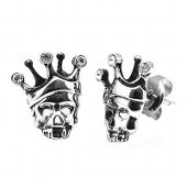 Stainless Steel Skull & Crown CZ Earrings
