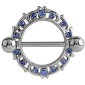 Surgical Steel Blue Jeweled Nipple Shield