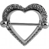 Surgical Steel Crystal Jeweled Heart Nipple Shield