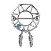 Surgical Steel Dreamcatcher Nipple Shield - Turquoise