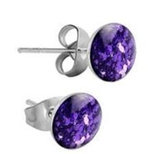 Surgical Steel Glitterline Ear Studs - Purple Velvet