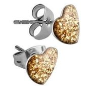 Surgical Steel Heart Glitterline Ear Studs - Golden Shadow