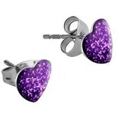 Surgical Steel Heart Glitterline Ear Studs - Purple Velvet