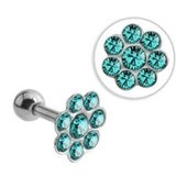 Surgical Steel Jeweled Flower Tragus Barbell - Blue Zircon